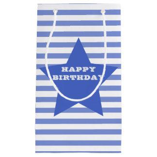 Blauer Stern-u. Streifen-Geschenk-Tasche alles- Kleine Geschenktüte