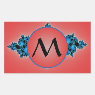 Blauer Stoff, Fraktalarabeske mit rotem Monogramm