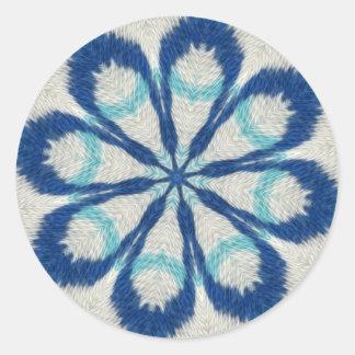 Blauer Stoff-Mandala-Aufkleber Runder Aufkleber