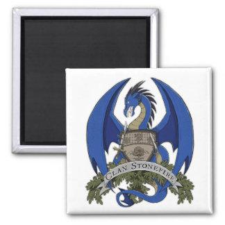 Blauer Stonefire Drache-Wappen-Magnet Quadratischer Magnet