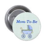 Blauer Stroller-Baby-Duschen-Mama-Button-Knopf