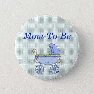 Blauer Stroller-Baby-Duschen-Mama-Button-Knopf Runder Button 5,7 Cm