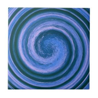 Blauer Strudel in der Runde Fliese