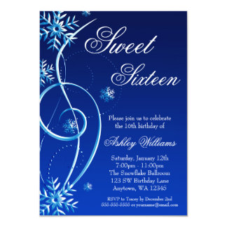 Blauer Strudel-Winter-Märchenland-Bonbon 16 Personalisierte Einladungskarten