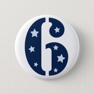 Blauer Superstar 6 Geburtstags-Knopf Runder Button 5,1 Cm