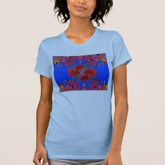 Blauer T - Shirt-Frauen Petite mit Blumen-Tropfen T-Shirt