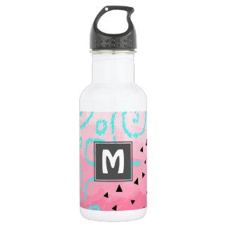 blauer tadelloser schwarzer geometrischer trinkflasche