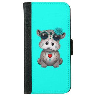 Blauer Tag des toten Baby-Flusspferds iPhone 6/6s Geldbeutel Hülle