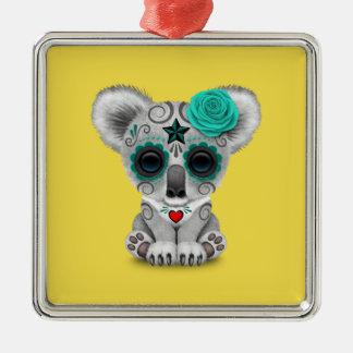 Blauer Tag des toten Baby-Koala Quadratisches Silberfarbenes Ornament