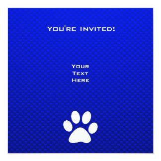 Blauer Tatzen-Druck Quadratische 13,3 Cm Einladungskarte