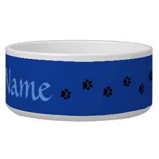 Blauer Tatzen-Druck-personalisierte Napf