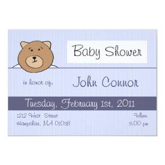 Blauer Teddybär - Babyduscheneinladungen 12,7 X 17,8 Cm Einladungskarte