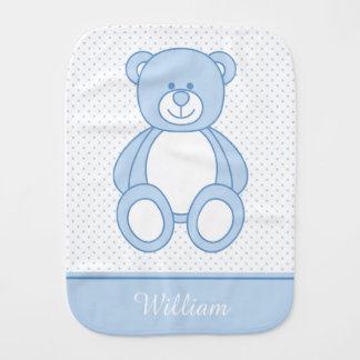 Blauer Teddybärburp-Stoff Baby Spucktuch