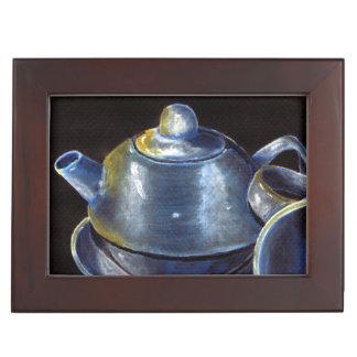 Blauer Tee-Set-Andenken-Kasten (Lori Corbett) Erinnerungsdose