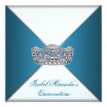 Blauer Tiara nobles weißes Quinceanera 15. Party Personalisierte Ankündigungskarte