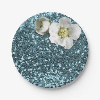 Blauer Tiffany weißer Jasmin-mit BlumenGlitter Pappteller
