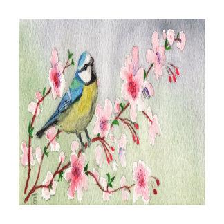 Blauer Tit-Vogel auf Kirschblüten-Baum-Wasserfarbe Leinwanddruck