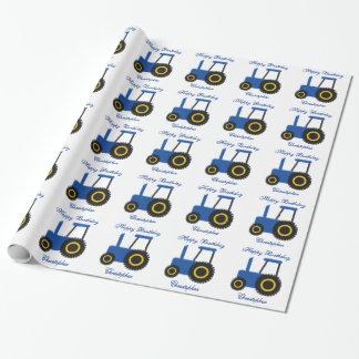Blauer Traktor-Geburtstag Geschenkpapierrolle