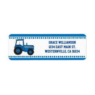 Blauer Traktor-Rücksendeadressen-Aufkleber