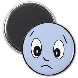 Blauer trauriger Smiley-Magnet Runder Magnet 5,7 Cm