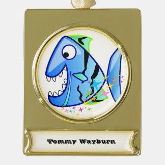 Blauer tropischer Piranha mit Sternen Banner-Ornament Gold