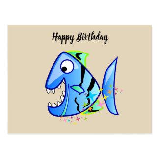 Blauer tropischer Piranha mit Sternen Postkarte