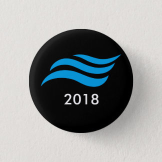 Blauer Tsunami Runder Button 2,5 Cm