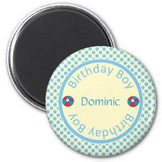 Blauer Tupfen-Geburtstags-Jungen-Namen-Magnet Runder Magnet 5,1 Cm