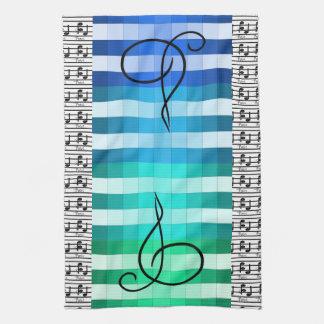 Blauer Türkis-musikalisches Geschirrtuch