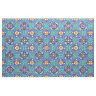 Blauer Türkis ockerhaltiges Retro Nouveau Stoff