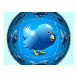 Blauer Tweeter Postkarte