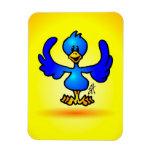 Blauer Twitter-Vogel Eckiger Magnet