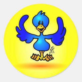 Blauer Twitter-Vogel Runder Aufkleber