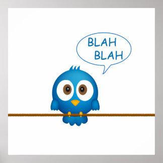 Blauer Twittervogel-Cartoon Poster