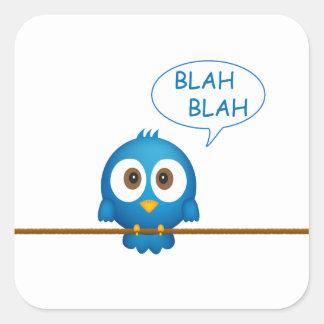 Blauer Twittervogel-Cartoon Quadratischer Aufkleber