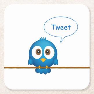 Blauer Twittervogel-Cartoon Rechteckiger Pappuntersetzer