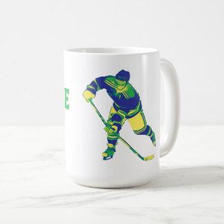 Blauer u. grüner Eis-Hockey-Spieler, Kaffeetasse