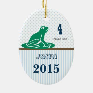 Blauer u. grüner Frosch-Punkt Stripes Keramik Ornament
