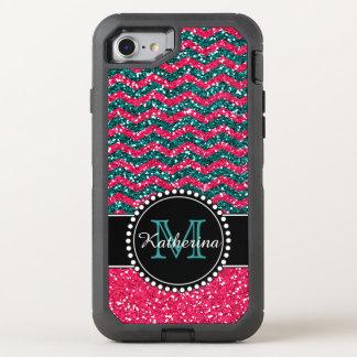 Blauer u. rosa Glitter-Zickzack personalisierter OtterBox Defender iPhone 7 Hülle
