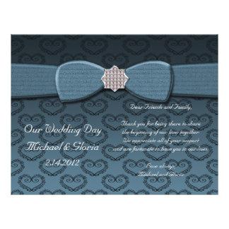 Blauer u. schwarzer Damast-Herz-Bogen Bling Personalisierte Flyer