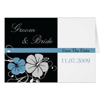 Blauer u. schwarzer Hibiskus Save the Date Grußkarten