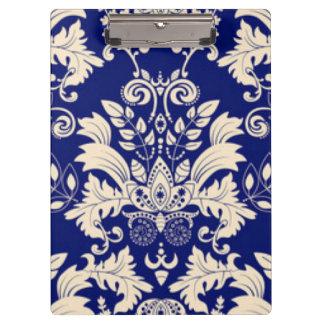 Blauer u. weißer Damast-Muster-Druck-Entwurf Klemmbrett