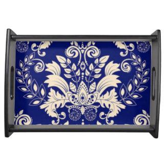 Blauer u. weißer Damast-Muster-Druck-Entwurf Tablett