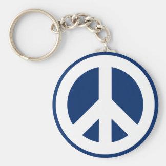Blauer u. weißer Frieden Standard Runder Schlüsselanhänger