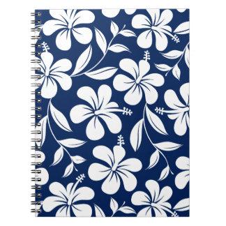 Blauer u. weißer Hibiskus Spiral Notizblock