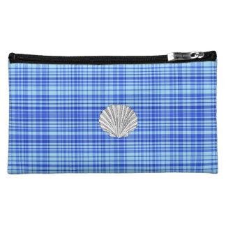 Blauer u. weißer karierter Entwurf mittlere Cosmetic Bag