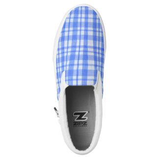 Blauer u. weißer Schachbrett Zipz Beleg auf Slip-On Sneaker