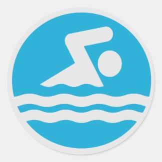 Blauer u. weißer Schwimmer-dekorativer Runder Aufkleber