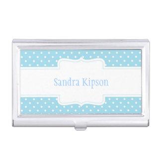 Blauer u. weißer Tupfen-Visitenkarte-Halter Visitenkarten Etui