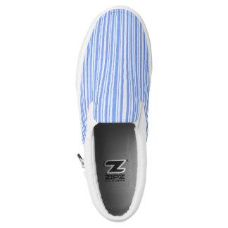 Blauer u. Weißstreifen Zipz Beleg auf Schuhen, Slip-On Sneaker
